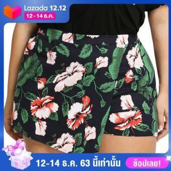 Ahlisenshop PLUS ขนาดผู้หญิงดอกไม้ร้อนกางเกงฤดูร้อนกางเกงขาสั้นสูงเอว Beach กางเกงกีฬา