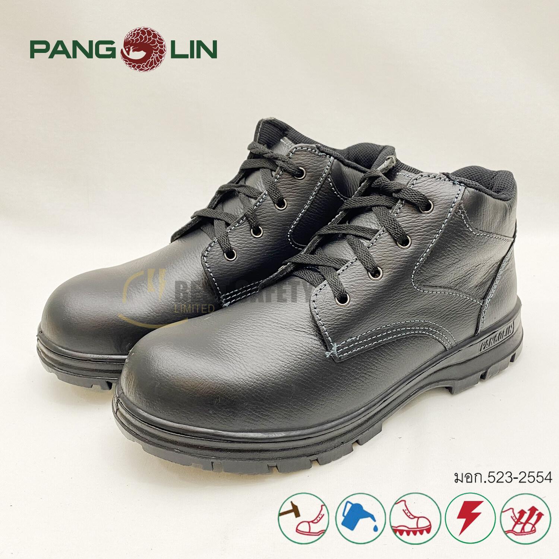 รองเท้าเซฟตี้ หัวเหล็กกล้า หุ้มข้อ รุ่น 9504u พื้น Pu หนังแท้ สีดำ.