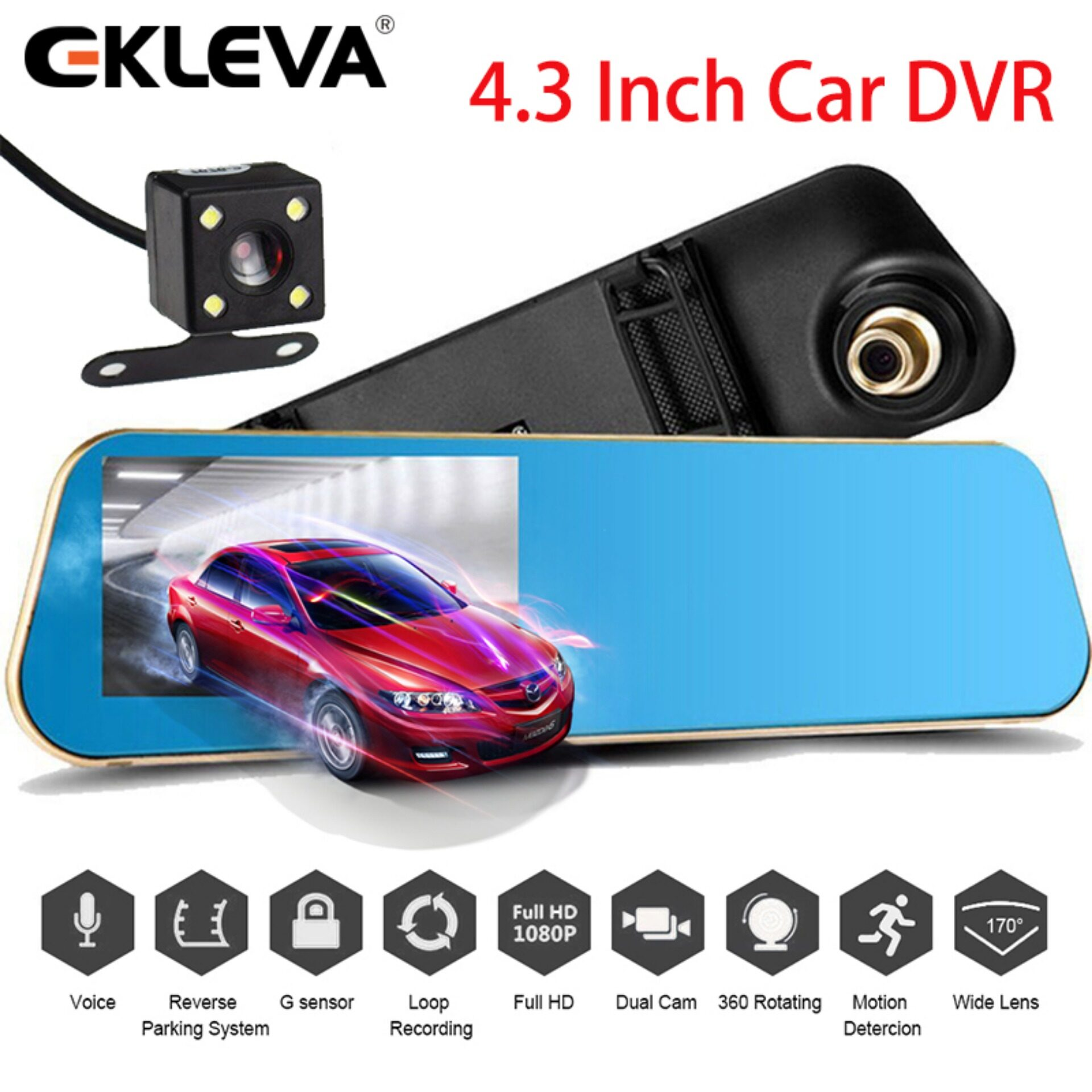 Dash Cam 1080P HD Front and Waterproof Rear Car Camera,Night Vision DVR Dashboard Camera Video Recorder On-Dash Dual Cam for Cars,4 Inches LCD Screen,Wide Angle,Loop Recording,G-sensor,24 Hrs Monitor