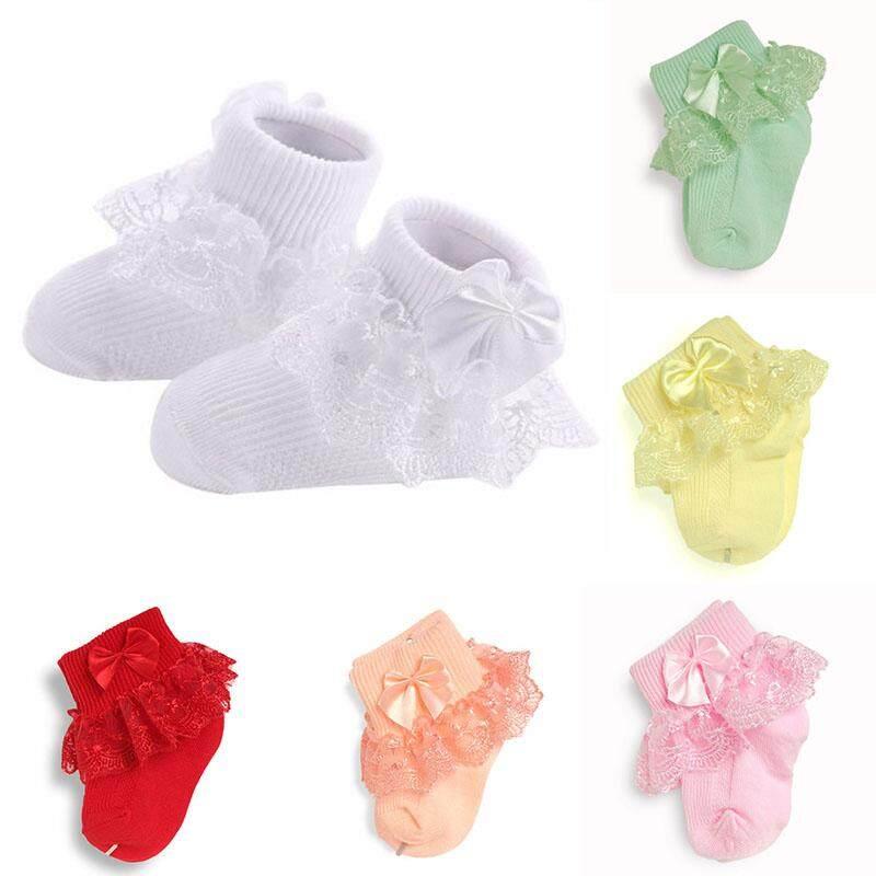Trẻ em Bé Sơ Sinh Dễ Thương Ấm Cotton Phối Ren Nơ Tất