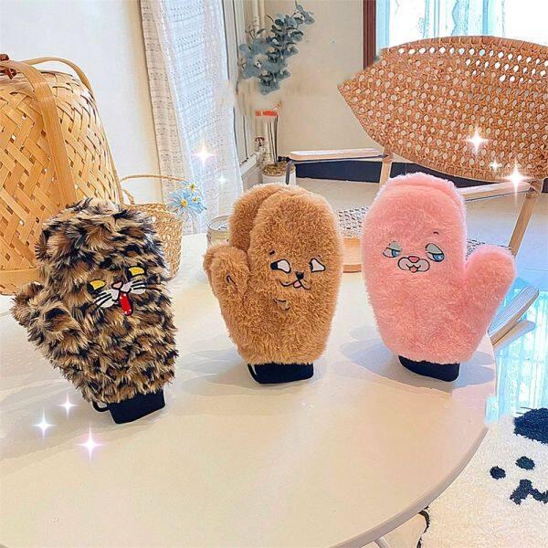 Giá bán 1 Đôi Găng Tay Mềm Mùa Đông Cho Nữ Găng Tay Nhung Lông Hoạt Hình Dễ Thương Găng Tay Kín Ngón Dễ Thương Cho Nữ Quà Giáng Sinh Cho Bé Gái