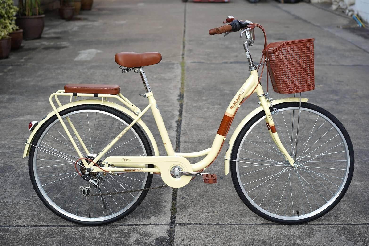 จักรยานแม่บ้านวินเทจ สไตล์ญี่ปุ่น 26 Tiger Hokkaido มี 6 เกียร์.