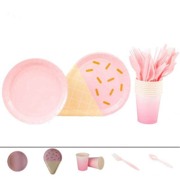 Partybus 40Pcs Pure Colour Icecream Disposable Plates Wedding Birthday Baby Shower Party Tableware Set, Plate+Glass+Spoon+Fork Ect.Pink
