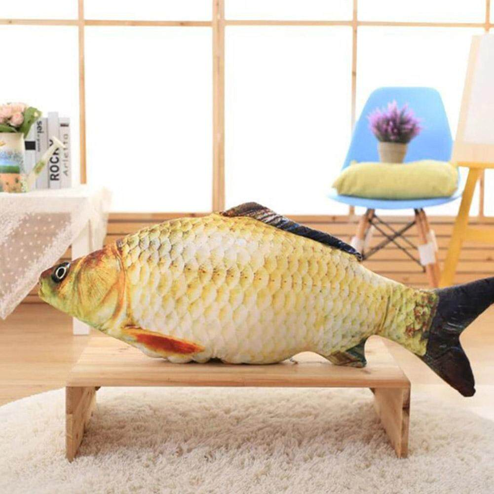 PS Simulate Crucian Fish Shape Stuffed Pillow Toy with Catmint for Cat Pet