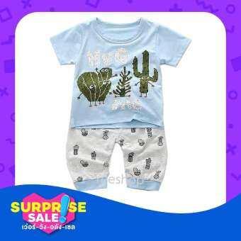 YeeShop ชุดเสื้อผ้าเด็กผู้ชาย/เด็กผู้หญิงแขนสั้นเข้าชุด ลายกระบองเพรช สีฟ้า/สีเขียว ไซส์ 90#/S 100#/-