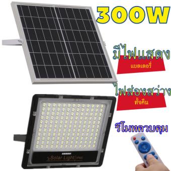 โคมไฟโซล่าเซล์ Solar lights แสงสีขาว แสงสีวอร์ม สีเหลือง ไฟโซล่าเซลล์ โคมไฟสปอร์ตไลท์ 300W 200W 100W 65W 45W 35W 25W พร้อมรีโมท โคมไฟพลังงานแสงอาทิตย์