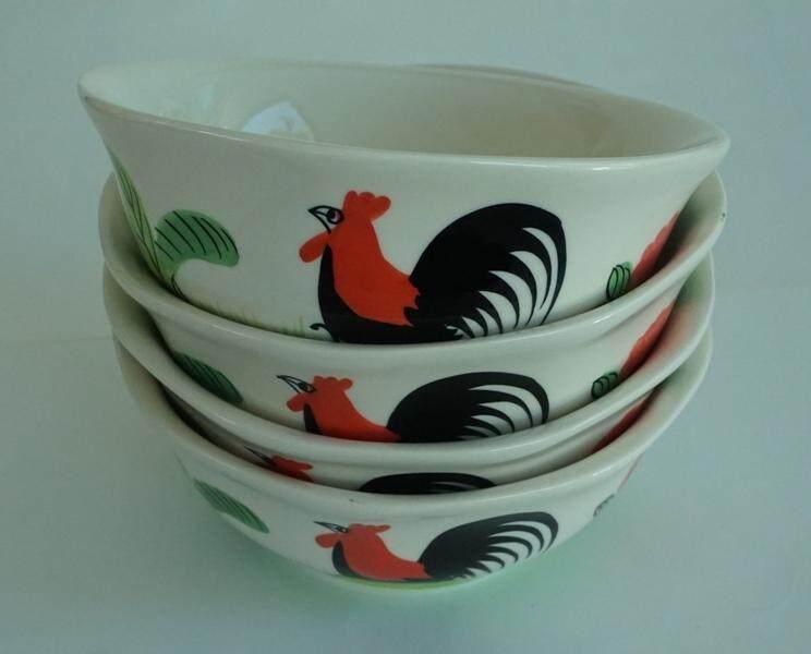 ถ้วยเซรามิค ชามตราไก่ ถ้วยตราไก่ ถ้วยกาไก่ ถ้วยตราไก่ลำปาง 5 นิ้ว 4 ใบ.