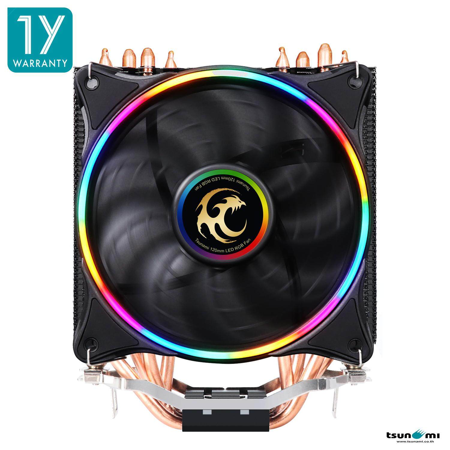 Tsunami Super Storm Rgb 130w Cpu Cooler Tss-2000 ( 4 Heat Pipes + 12 Cm Neon Fan) (p.w.m Function)(intel/amd Compatible) By Fun Republic Co.,ltd..