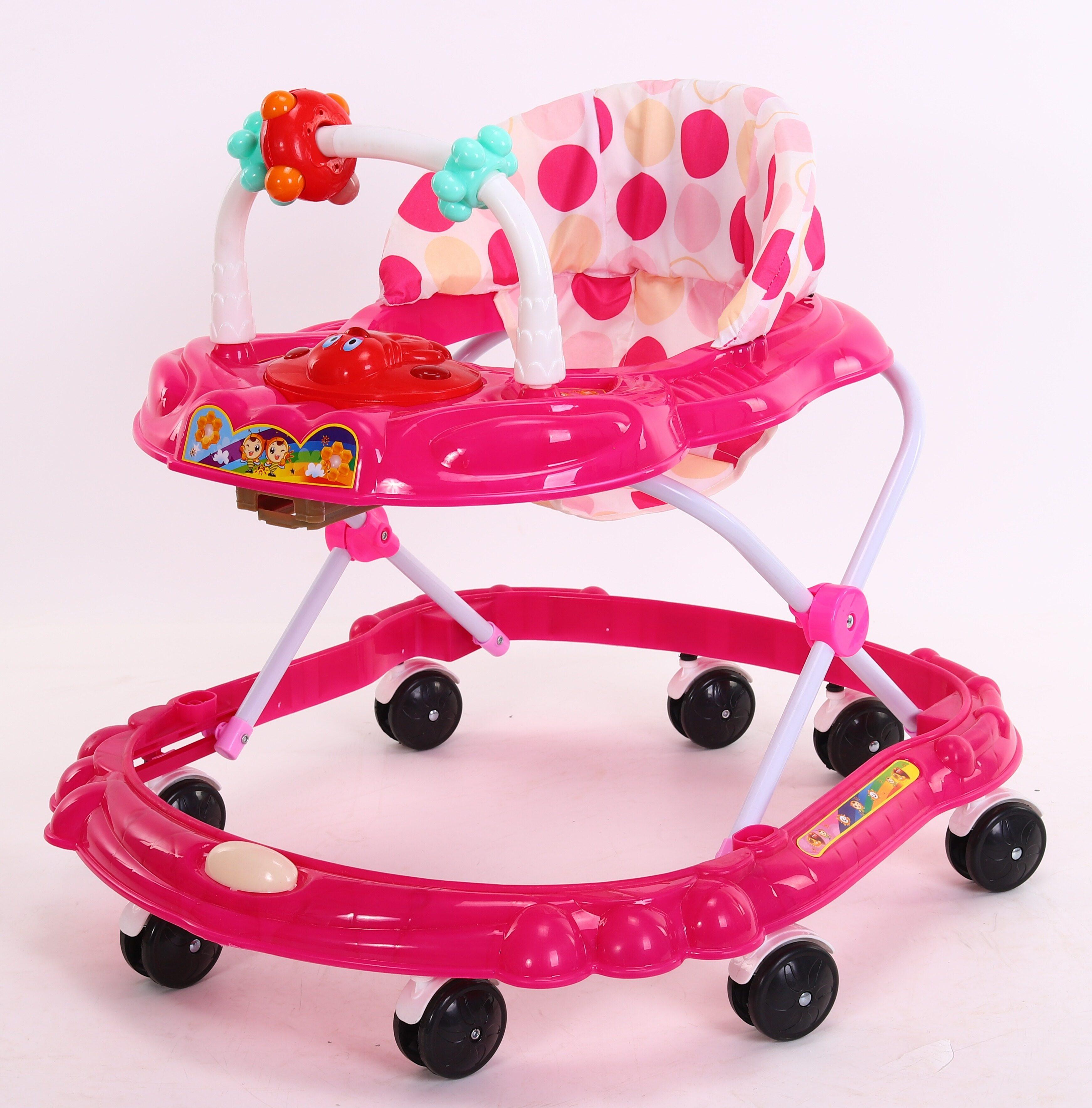แนะนำ รถพยุงหัดเดิน 3 ระดับ มีเสียงเพลง ปรับระดับได้ สีชมพู Pink 999#