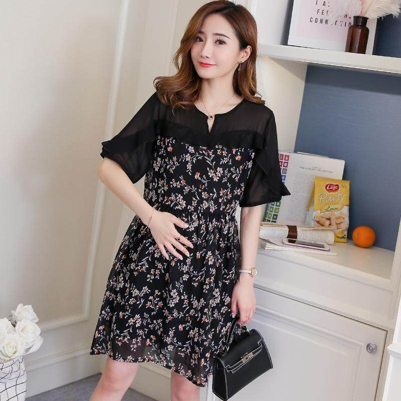 a20083bf9f2ea Maternity Clothes Summer Wear New Style Short Sleeve Floral Chiffon dress  for women Korean Style Slimming