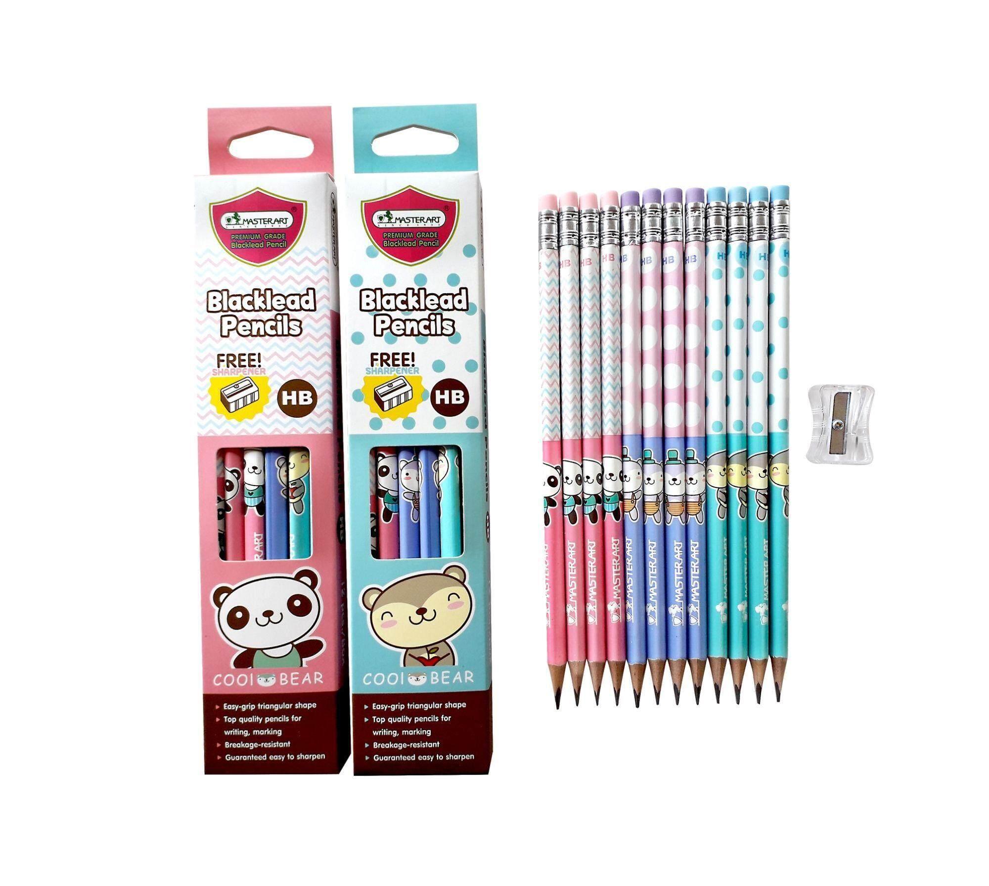 Master Art ดินสอไม้สามเหลี่ยม เกรด Hb ฟรีกบเหลาดินสอ/ 12 แท่ง.