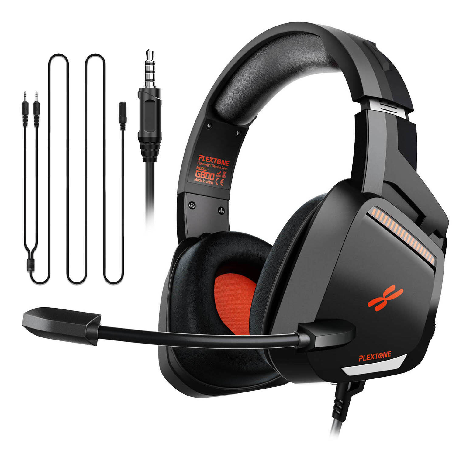 Plextone G800 Gaming Headset,3.5mm over-ear Headphones with Volume Controller and Retractable Microphone
