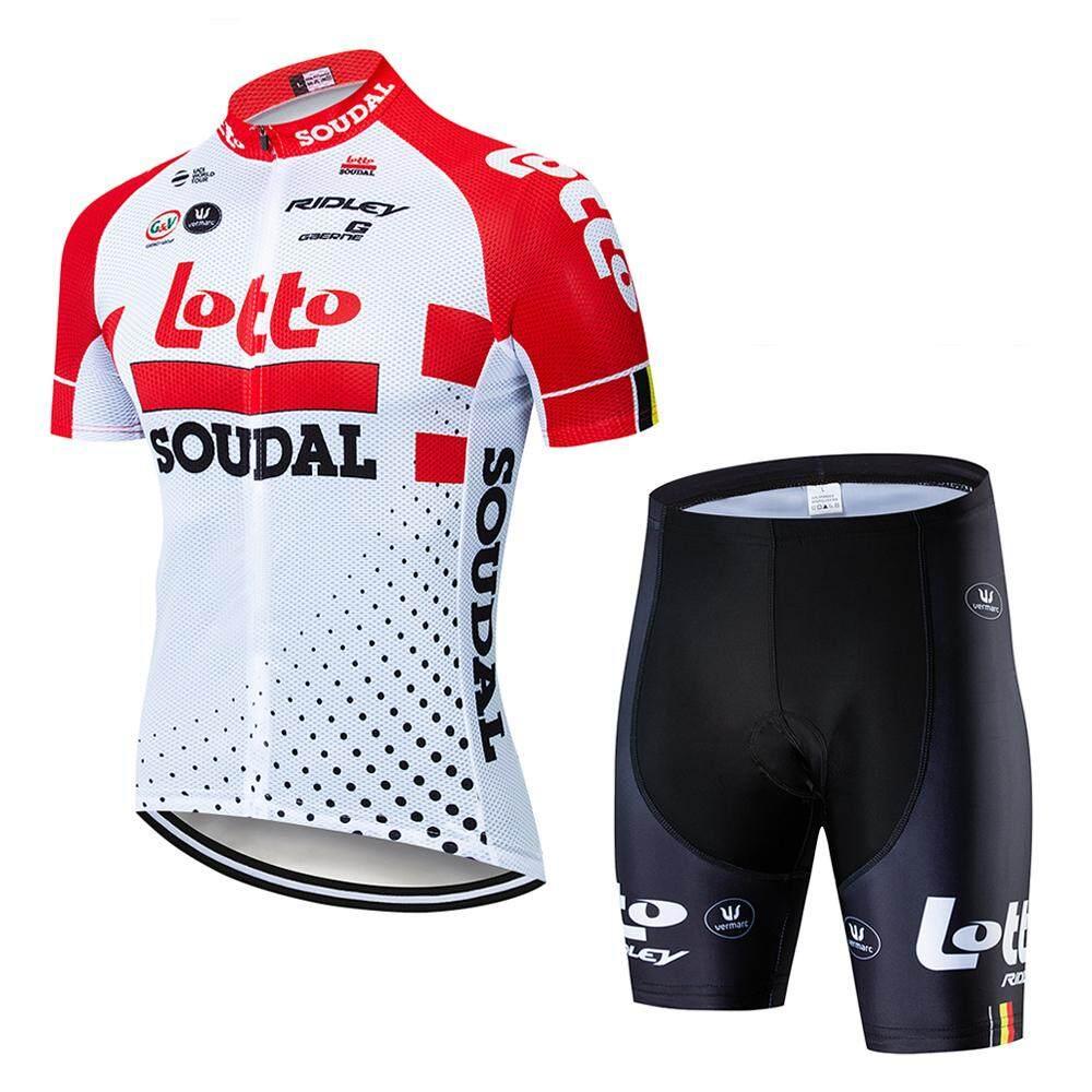 Lee Bicycle ชุดสั้นปั่นจักรยานลายทีม ยี่ห้อ:lotto กางเกงเป้าเจลสีฟ้า สำหรับนักปั่นทั้งชายและหญิง.