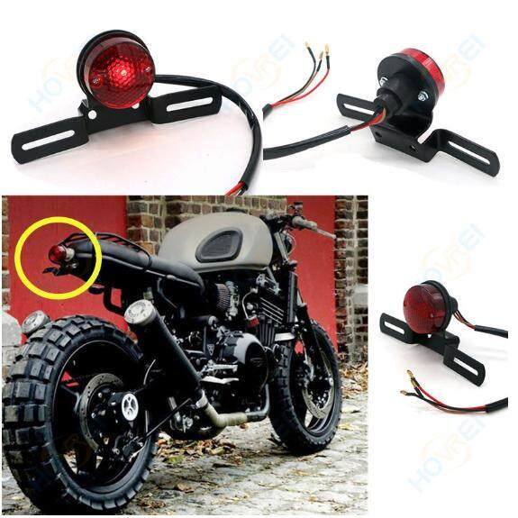 Motorcycle Black Red Round Running Tail Brake License Plate Light Bobber Chopper