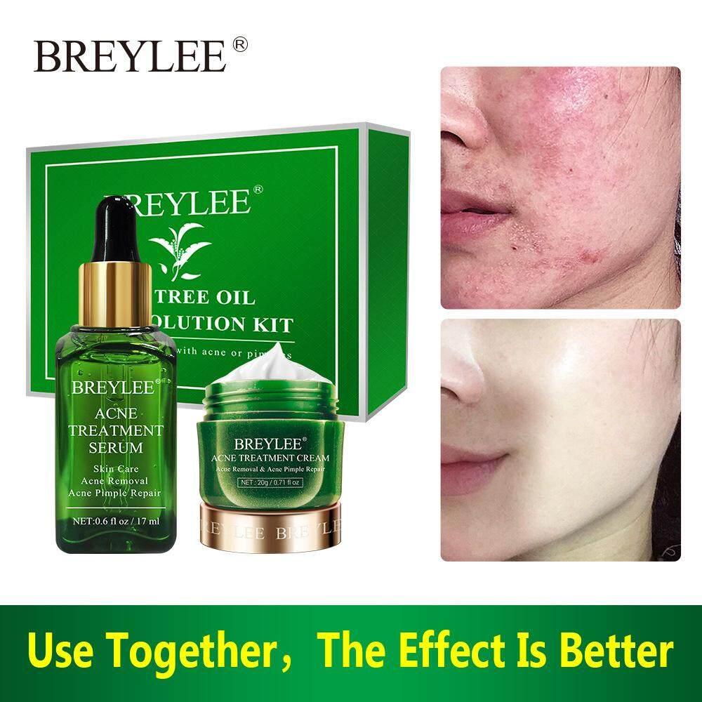 BREYLEE ครีมบำรุงผิว เซรั่มบำรุงผิว แบบเซ็ท รักษาสิว สิวเสี้ยน สิวอุดตัน แก้ปัญหาสิว ประปรุงสภาพผิวให้ดีขึ้น Tea tree oll acne solution kitt tea tree Anti-acne set