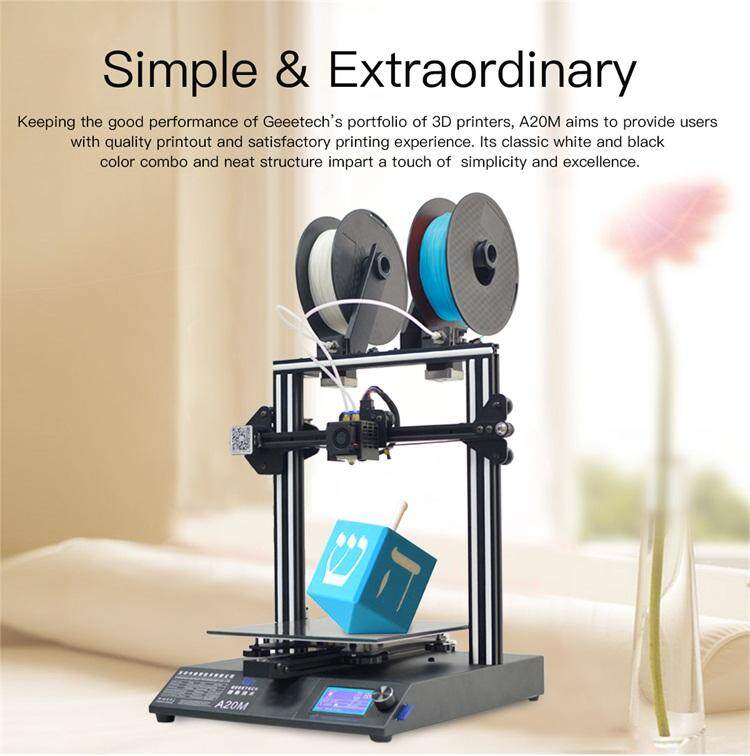Geeetech A20m Mix-Color Fast Assembly 3d Printer With Filament Fetector And Break-Resuming Capability 255*255*255 Print Volume By Print3dpro.net.