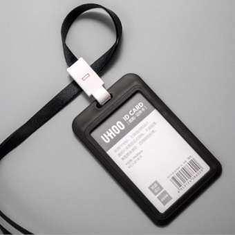 (ป้ายห้อยบัตร+สายคล้องคอ 1ชุด) ป้ายห้อยบัตร + สายคล้องคอ ใส่บัตรพนักงาน/นักเรียน Card Holder-