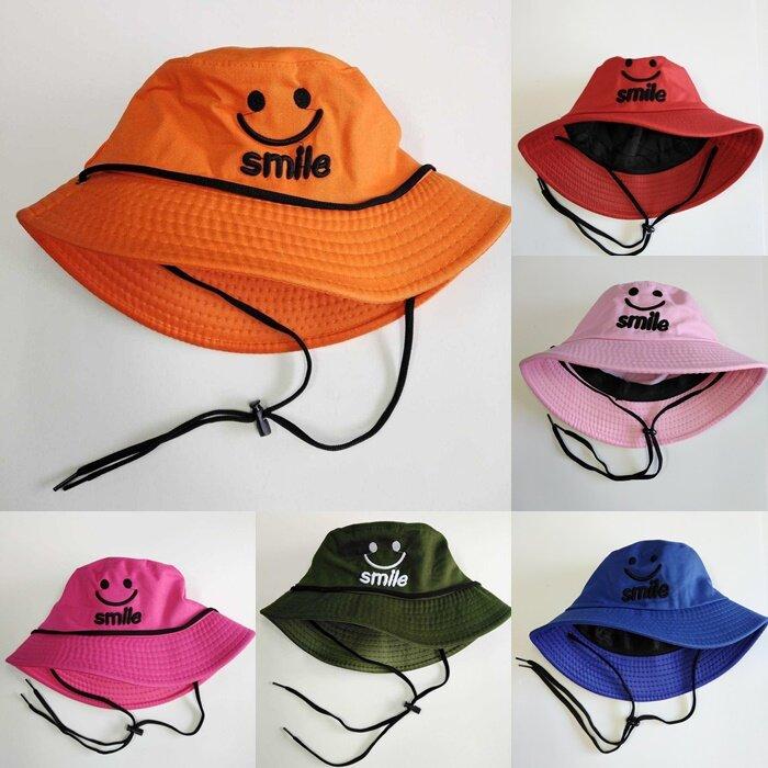 หมวกแฟชั่น หมวก หมวกบักเก็ตมีสาย (ยิ้มsmle) หมวกกันแดด หมวกบักเก็ต Am0025.