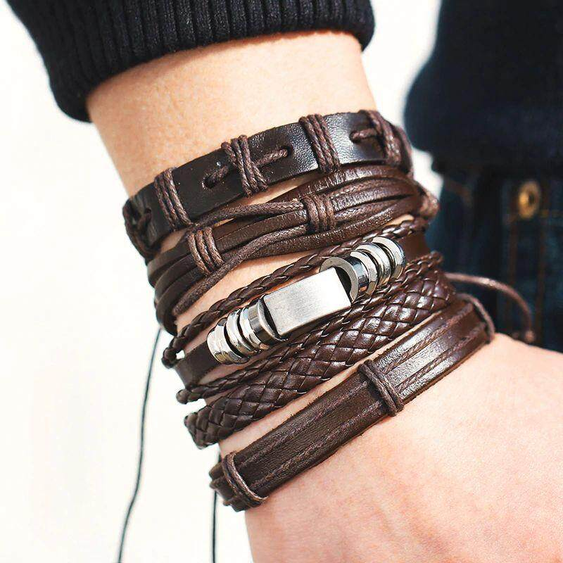 Fashion Multiple Layers Brown Leather Bracelets Classic Rope Chain Charms Bracelet For Men Women Unisex Jewelry Gifts.