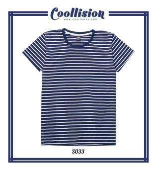 #Coollision เสื้อยืดลายทาง ขาวกรม เส้นเล็ก (S033)