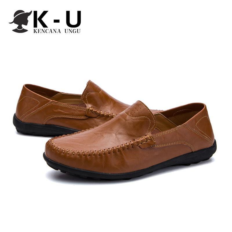K-U Mens รองเท้าแบรนด์รองเท้าผู้ชายหนังแท้ Loafers Luxury รองเท้าแตะ Comfy รองเท้าระบายอากาศได้รองเท้าเรือผู้ชาย