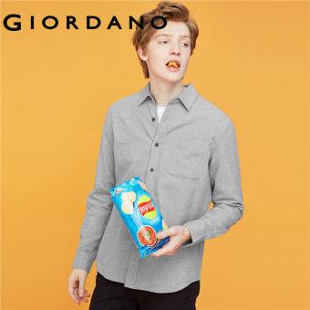 Giordano Men เสื้อเชิ้ตแขนยาว รัดรูป ผ้าฝ้าย 100% ผ้าFlannel หนา Free Shipping 13049803