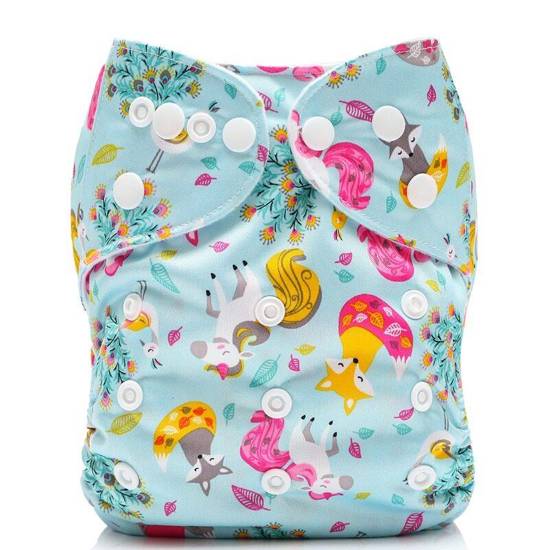 กางเกง ผ้าอ้อม เด็ก แบบซักได้/ กันน้ำ ได้ ฟรี แผ่น ซับ แบมบู 4 ชั้น, ลาย ยูนิคอร์น   Pocket Cloth Diaper/nappy, Waterproof With 4-Layer Bamboo Insert, Unicorn Design.