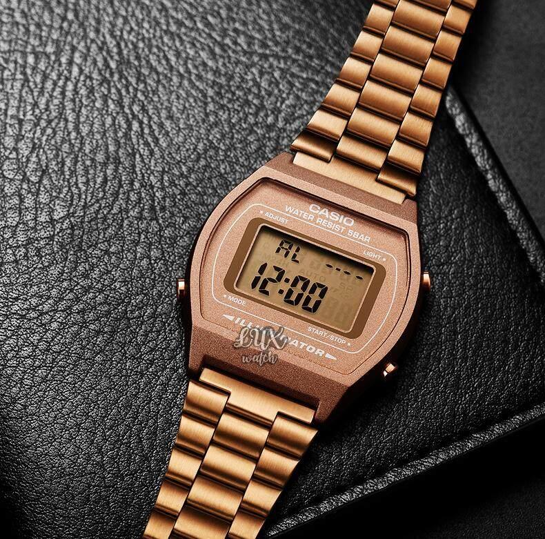 Casio Standard Digital รุ่น B640wc-5a Rose Gold / Black นาฬิกาข้อมือ สีพิงค์โกลด์ สีดำ นาฬิกาข้อมือผู้ชาย-ผู้หญิง สายสแตนเลสเคลือบทอง By Lux Watch.