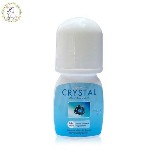 คริสตัล โรลออน สารส้ม ระงับกลิ่นกาย สูตรธรรมชาติ ไม่มีสี ไม่มีกลิ่น Crystal Deo Roll-On 50 Ml..