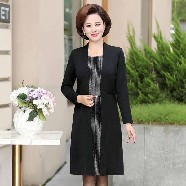 Quần áo mùa thu của mẹ dài trung bình 50 tuổi trung niên đeo tay áo dài cỡ lớn giả hai mảnh Knee Skirt W6NI