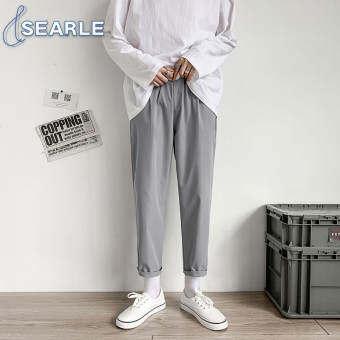 SE กางเกงขายาวผู้ชาย กางเกงขายาวแฟชั้น เนื้อผ้าเบาบาง ใส่สบาย กางเกงลำลองทรงตรง สไตล์เกาหลี