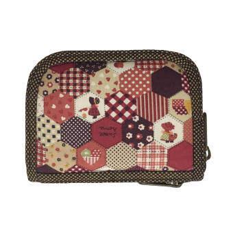 กระเป๋าสตางค์ แบบสั้น (ขนาด 0.5x5x4 นิ้ว) ผ้าคอตตอนญี่ปุ่นสีแดงอิฐ