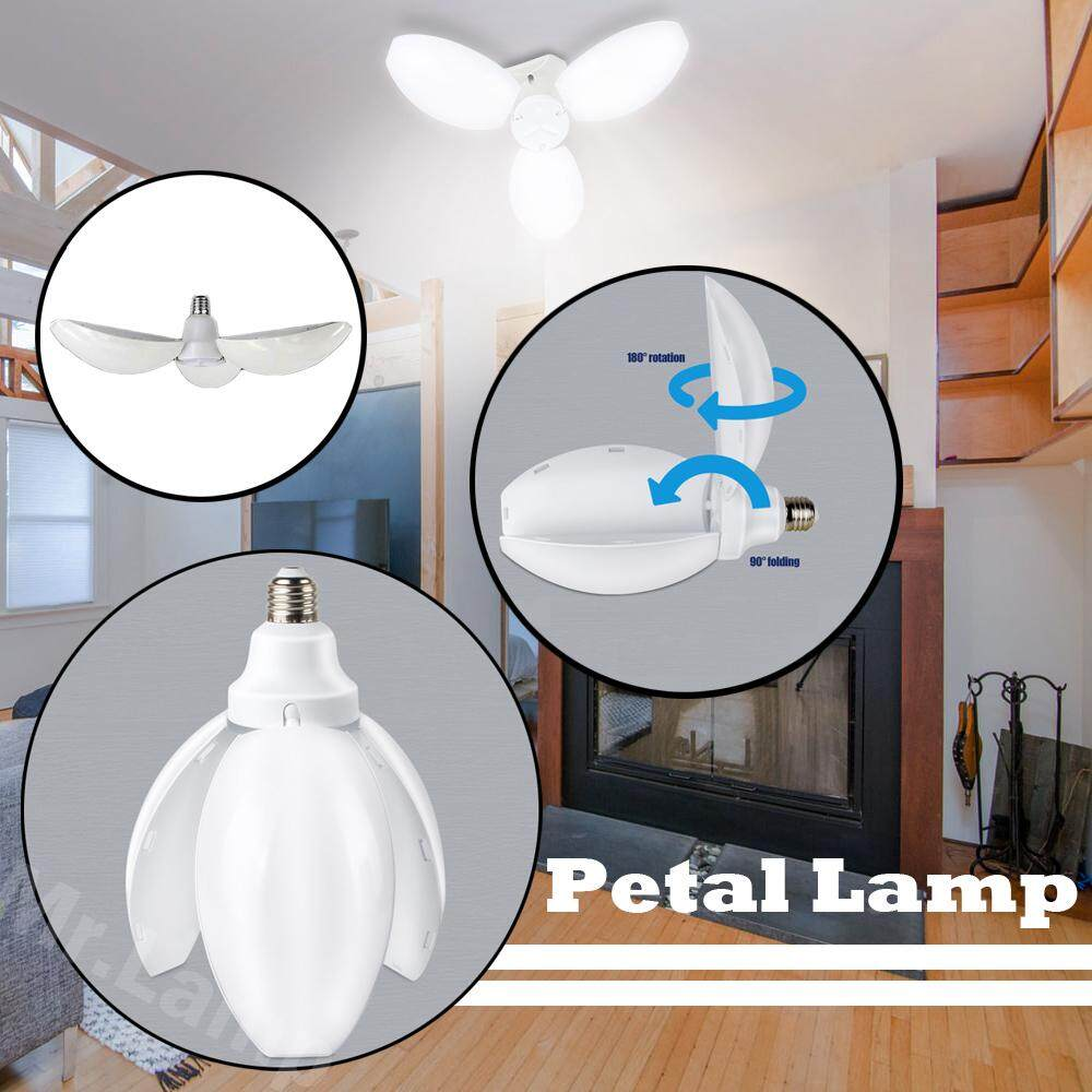 4homes หลอดไฟ โคมไฟ ไฟ ไฟประดับ Led ทรงใบพัด พับได้ ขนาด 45w ขั๊ว E27 หลอดไฟ Led ดอกไม้ปรับ หลอดไฟ Led Petal Fan Blade Bulb Flower Lamp Adjustable.