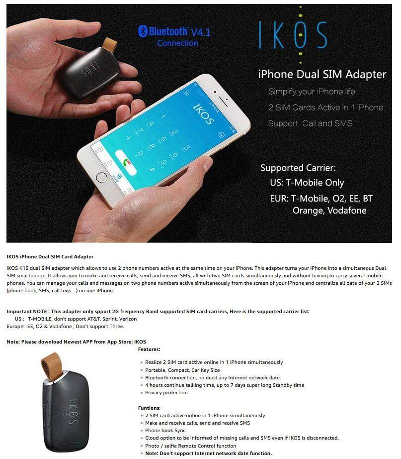 Ikos Bluetooth Dual Sim Adapter Compatible - Querciacb
