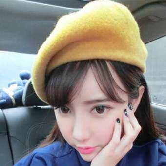 หมวกเบเล่ หมวกเบเร่ต์ หมวก แฟชั่น ผู้หญิง ขายหมวกสวยๆเท่ๆหมวกแฟชั่น หมวกปีกกว้าง หมวกปานามา หมวกไปทะเล หมวกเบเรต์ หมวกเบเรต์หนัง Spring Women's Beret Hat Fashion Solid Color Warm Wool Berets for Women French Artist Beanie Beret Hats for Girls