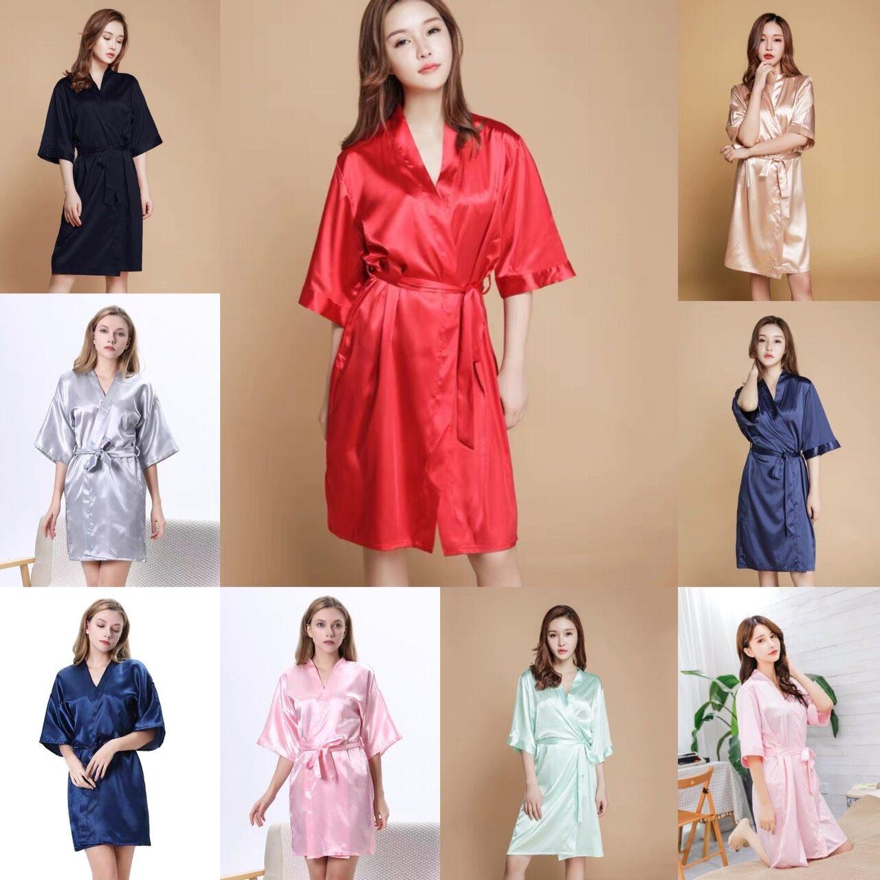 Cj-ชุดคลุมสาวๆ เเขนสั้น ผ้าซาติน งานสวย 10สี ฟรีไซส์ รุ่นcj-1805.