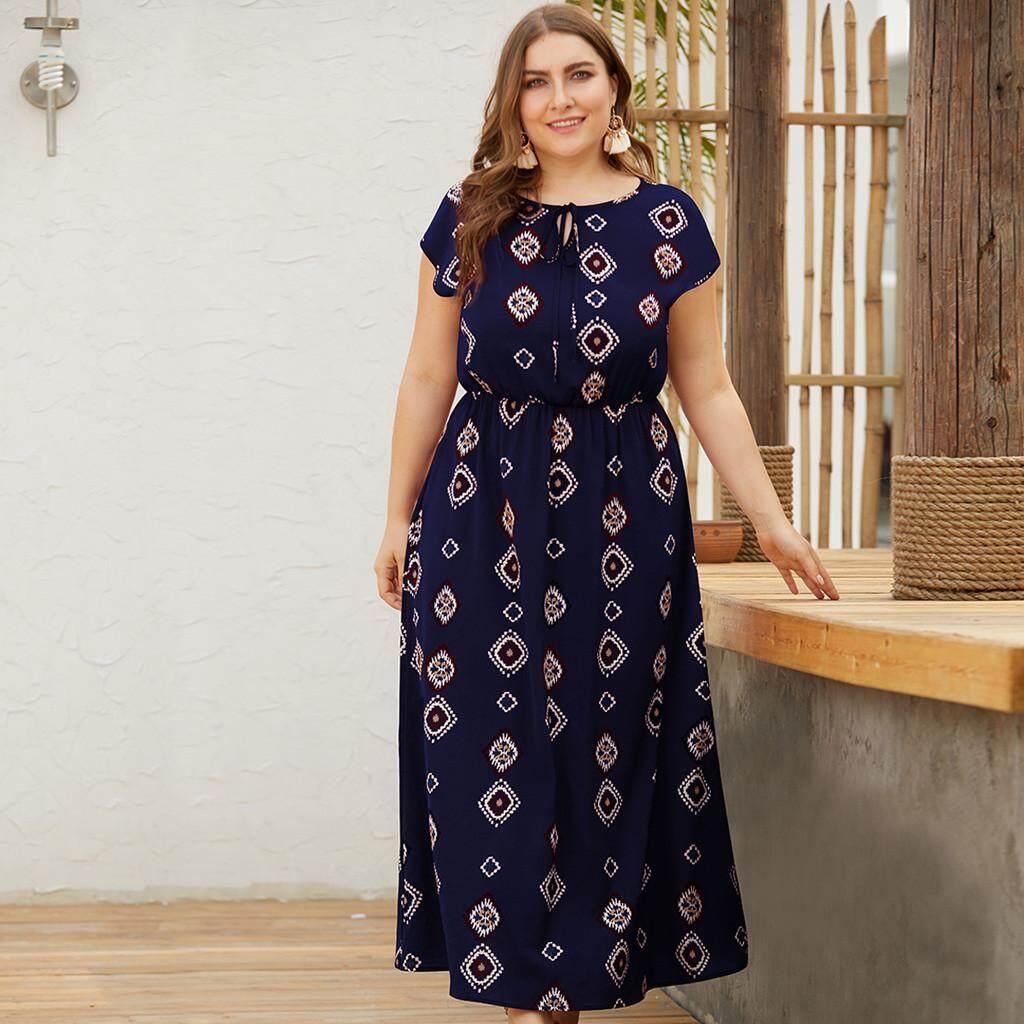 5a8668d5789b AAA+TCTTheOne Women's Plus Size O-neck Tie Short Sleeve High Waist Holiday  Print