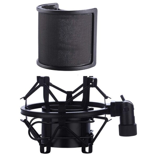 Microphone Shock Mount with Microphone Filter Windscreen Suspension Shock Mount Holder Clip