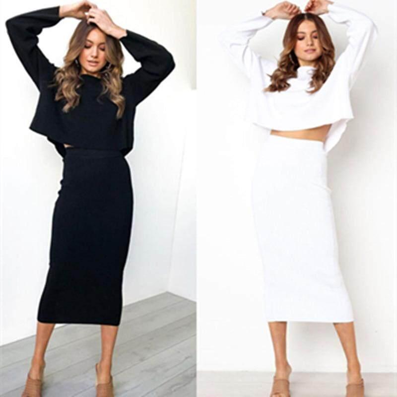 62cf93a8eb706 LOSSKY Knitted 2018 Autumn Bodycon Long Skirt Sexy Black White High Waist  Tight Women Maxi Elegant Party Club Wear Pencil Skirts