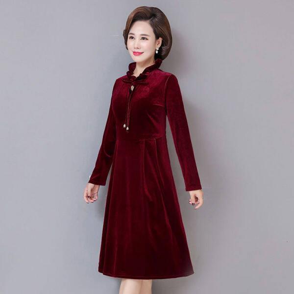 Áo choàng cổ áo cổ lỗ s ĩ cao tuổi trung niên và già nua, váy bông lan cỡ lớn, váy của mẹ trung niên 9J3T