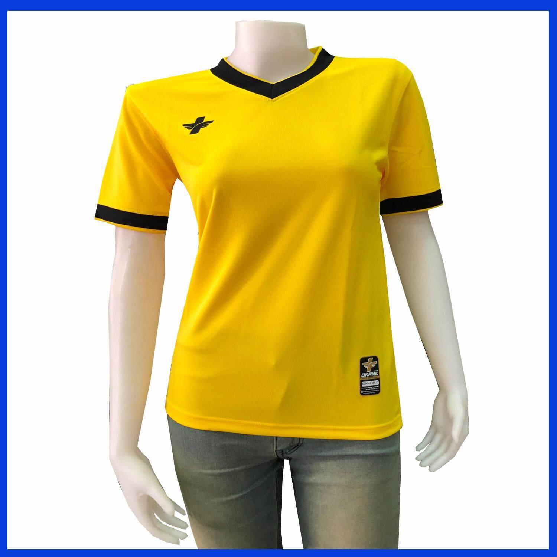 เสื้อกีฬาคอวี สีเหลืองบราซิล คอดำ เบานุ่มสวมใส่สบายระบายอากาศได้ดี By Polo Pratunam.