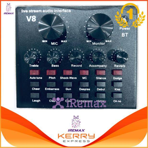 Iremax เครื่องผสมสัญญาณเสียง มิกเซอร์ มิกเซอร์ ขนาด Audio Mixer Audio Interface With 12 Electric Sounds 12 Sound Effects 3 Tone.