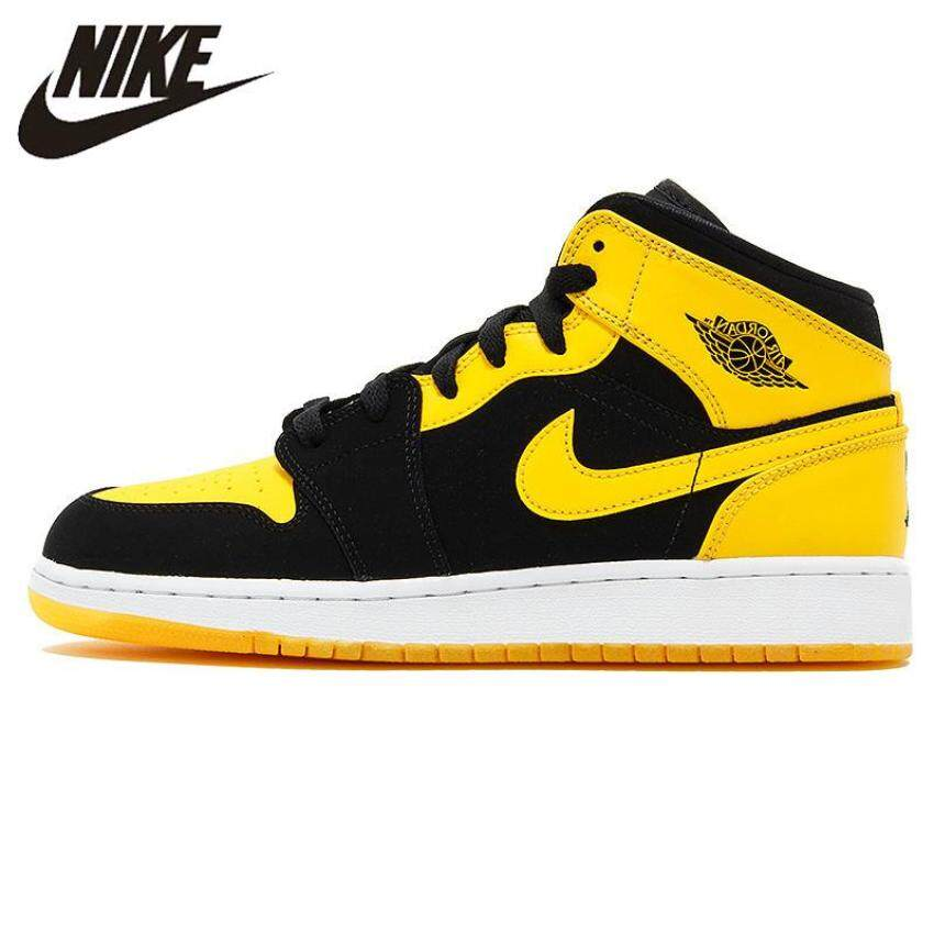 Nike Air Jordan 1 Mid AJ1 Black Yellow Joe Men's Basketball Shoes Sneakers, Original Outdoor Non-slip Shoes 554724 035
