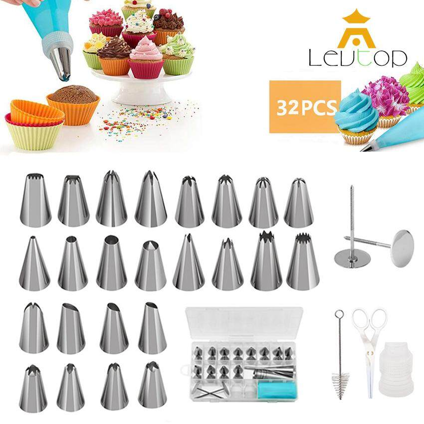 LEVTOP 32 in 1 Cake Decoration Tools Birthday Cake Decorating Supplies Kits 24 Stainless Steel Icing