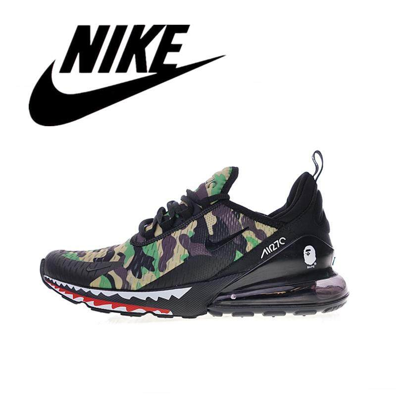 _Nike _Air Max 270 Bathing APE x Men's Wearable Running Shoes Outdoor Lightweight Sneakers Breathable Green Camouflage 40-45#AH6799-003
