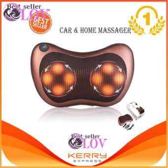 LOVBAG LNeck massager ไฟฟ้าคอหมอนนวดสำหรับบ้านและรถยนต์ massage pillow (สีน้ำตาล)