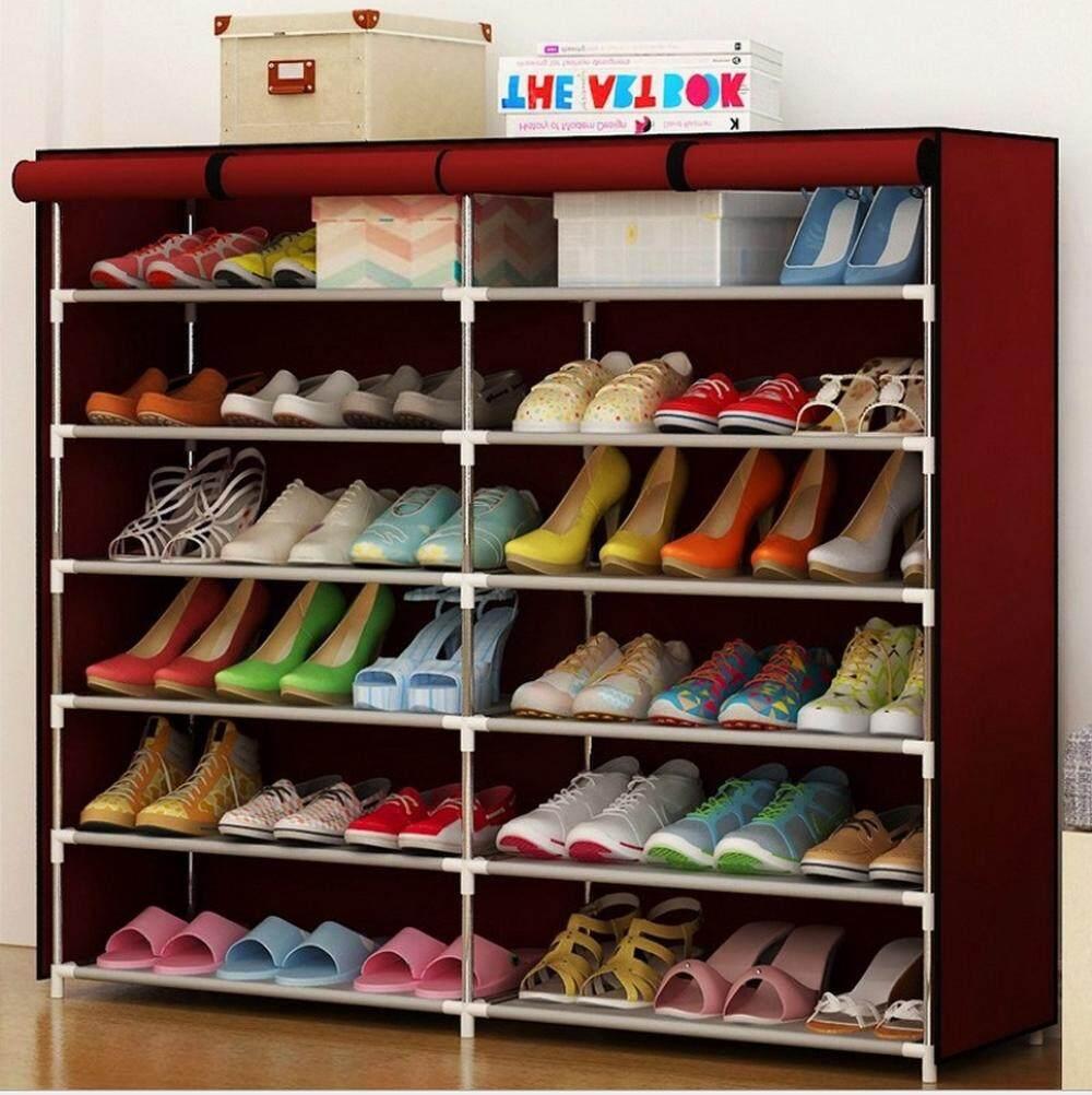 ⏩⏩โครงตู้แท้ 100%⏪⏪       ❌(ระวัง)!!ของเลียนแบบ❌ HOMMY ชั้นวางรองเท้า DIY ตู้เก็บรองเท้า 6 ชั้น (36 คู่) 2ช่อง เปิดบน (ซิปกลาง) - สีแดง KK - 1