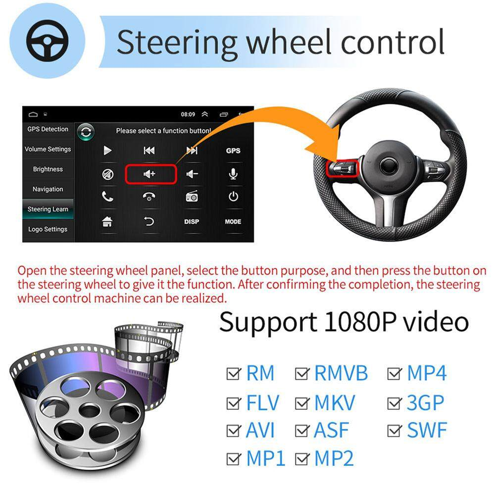 Android 6 0 Double Din GPS Car Stereo Radio 10 1'' HD 1080P 2 5D Tempered  Glass Mirror Car MP5 Player with Bluetooth WIFI GPS FM Radio Receiver