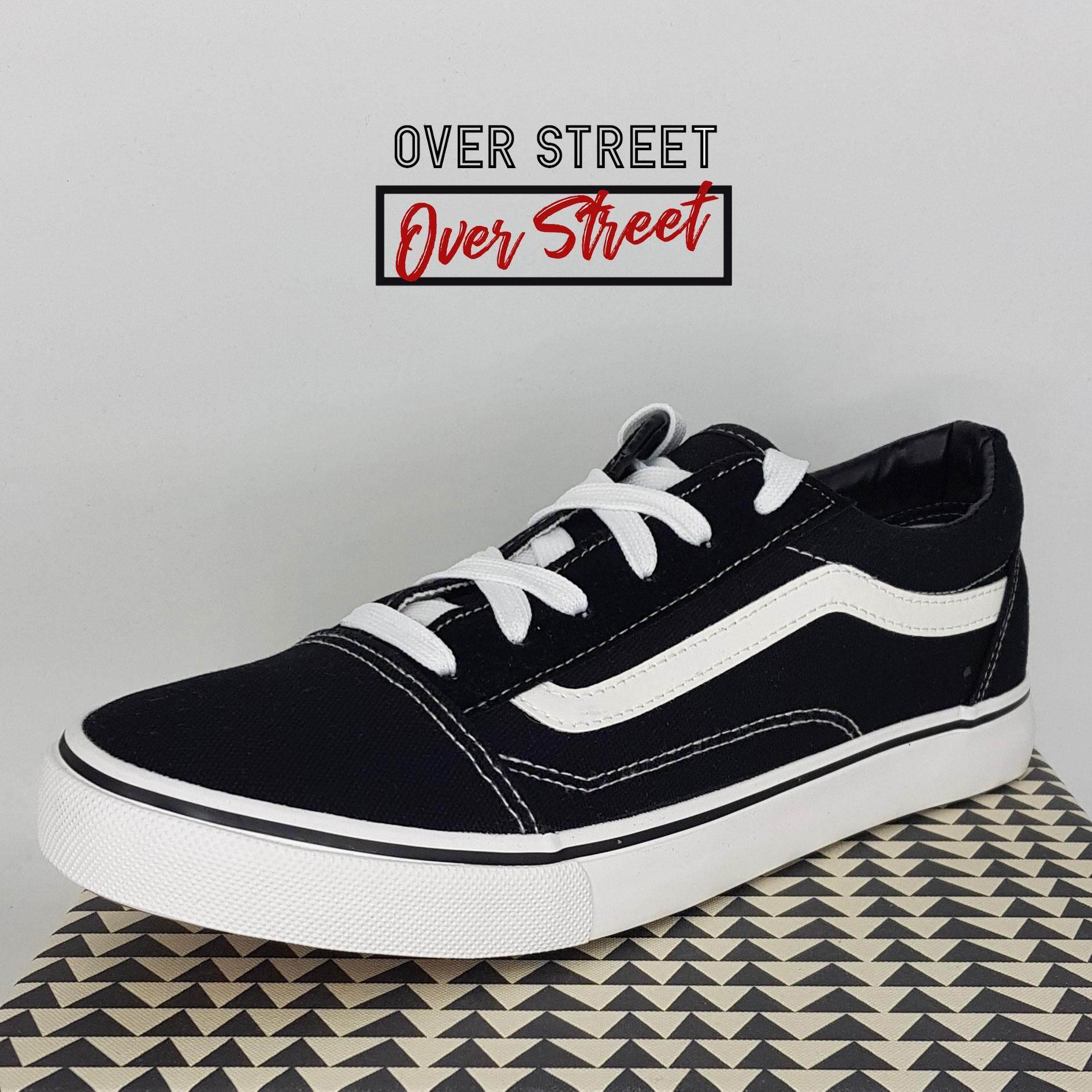 Overstreet รองเท้าผ้าใบผู้ชาย สีดำ(black) ทรงvans ยอดนิยม สวมใส่ง่ายสบาย พร้อมทุกจังหวะ!!!! By Overstreet.
