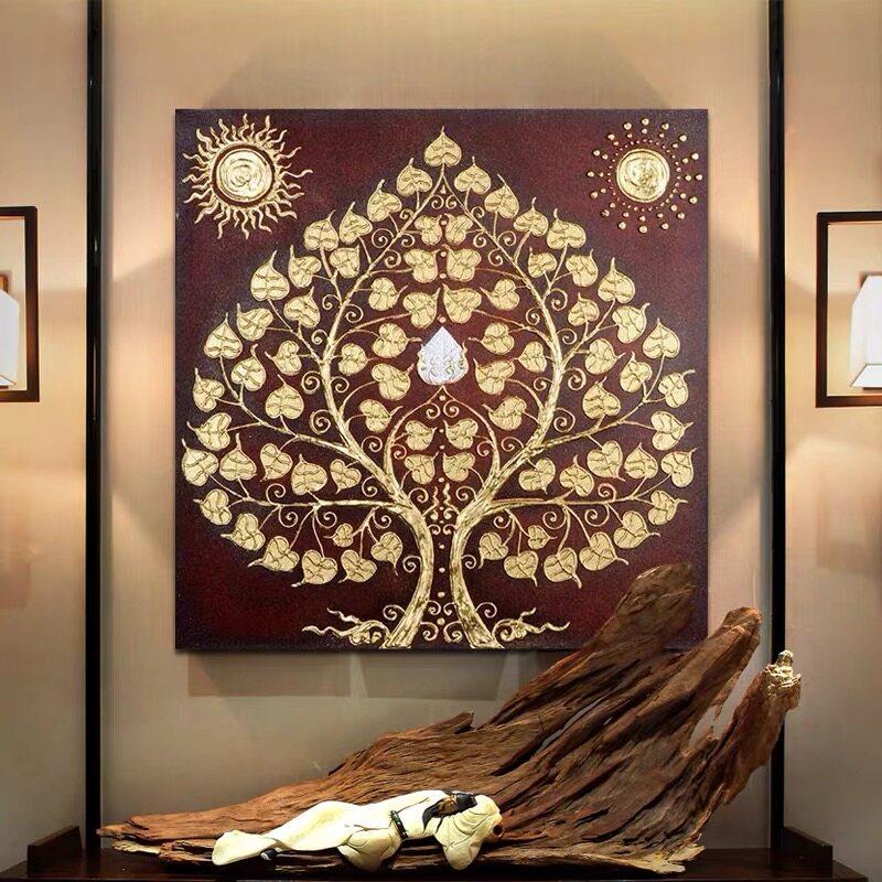 รูปภาพติดหลังพระ รูปภาพติดผนัง ภาพวาดฟอยล์ทอง ตกแต่บ้าน ขนาดใหญ่ 90x90 cm